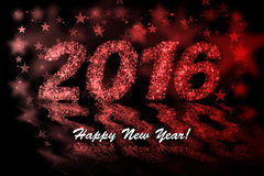 Happy New Year 2016. Red stars background with bokeh effect Royalty Free Stock Images