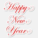 Happy New Year red stickers. On pink background Royalty Free Stock Photos
