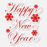 Happy New Year red stickers with snowflakes. On white background Stock Photos