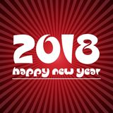 Happy new year 2018 on red stripped background eps10. Happy new year 2018 on red stripped background vector illustration