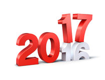 2017 Happy New Year. New Year red 2017 type over 2016,  on white - 3D illustration Royalty Free Stock Image