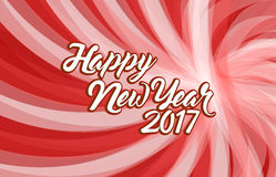 Happy new year 2017 red wave illustration. Design background Stock Photo