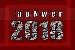 Happy New Year 2018 Red and white Stock Photography