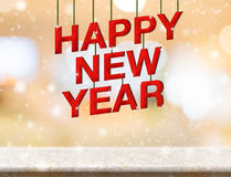 Happy new year red wood text new year on marble table top with b. Lur abstract bokeh background,Holiday greeting card Royalty Free Stock Photo