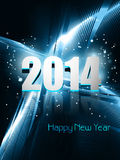 Happy new year 2014 reflection blue colorful wave. Design Stock Illustration