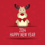 Happy new year. Reindeer and happy new year text on red background Stock Image