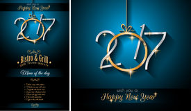 2017 Happy New Year Restaurant Menu Template Background. For Seasonal Dinner Event, Parties Flyer, Lunch Event Invitations, Xmas Cards and so on Stock Illustration