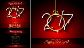 2017 Happy New Year Restaurant Menu Template Background Stock Photo