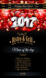 2017 Happy New Year Restaurant Menu Template Background. For Seasonal Dinner Event, Parties Flyer, Lunch Event Invitations, Xmas Cards and so on Stock Images