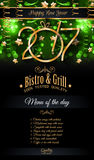 2017 Happy New Year Restaurant Menu Template Background. For Seasonal Dinner Event, Parties Flyer, Lunch Event Invitations, Xmas Cards and so on Royalty Free Stock Images