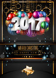 2017 Happy New Year Restaurant Menu Template Background. For Seasonal Dinner Event, Parties Flyer, Lunch Event Invitations, Xmas Cards and so on Royalty Free Stock Photo