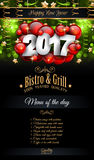 2017 Happy New Year Restaurant Menu Template Background. For Seasonal Dinner Event, Parties Flyer, Lunch Event Invitations, Xmas Cards and so on Royalty Free Stock Photos