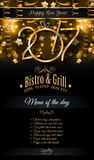 2017 Happy New Year Restaurant Menu Template for your Seasonal Flyers. And Greetings Card or Christmas themed invitations backgrounds Royalty Free Stock Images