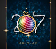 2017 Happy New Year Restaurant Menu Template for your Seasonal Flyers. And Greetings Card or Christmas themed invitations backgrounds Stock Photo