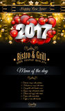 2017 Happy New Year Restaurant Menu Template for your Seasonal Flyers. And Greetings Card or Christmas themed invitations backgrounds Royalty Free Stock Image
