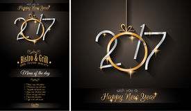 2017 Happy New Year Restaurant Menu Template for your Seasonal Flyers Stock Images