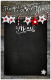 Happy New Year Restaurant Menu Wooden Blackboard Copy Space stock photo