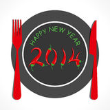 Happy new year 2014. Restaurant theme background Stock Images