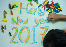 Happy New Year 2017. The results of a child coloring pictures on the theme of Happy New Year 2017 stock photos