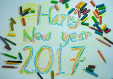 Happy New Year 2017. The results of a child coloring pictures on the theme of Happy New Year 2017 stock image