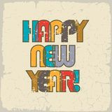 HAPPY NEW YEAR. Retro background, cheerful and beautiful inscription of color overlapping letters. Vintage effect can be. Removed stock illustration