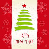 Happy new year in retro beige frame, greeting card Royalty Free Stock Image