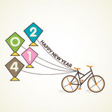 Happy new year 2014. With retro bicycle and kite concept Royalty Free Stock Image
