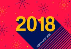 Happy New Year 2018 retro fireworks greeting card. Happy New Year 2018 typography greeting card, holiday text quote with colorful firework explosion shapes Royalty Free Stock Image