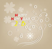 Happy new year 2015 retro floral. Happy new year background and greeting card design Royalty Free Stock Photo