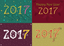Happy New Year 2017. Retro geometric font. Numerals with geometric and floral decor. Vector illustration Royalty Free Stock Photo