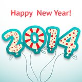 Happy New Year 2014 retro greeting card with Royalty Free Stock Image