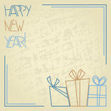 Happy New Year retro greeting card Royalty Free Stock Image