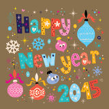 Happy New year 2015 retro greeting card Stock Photos