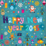 Happy New year 2015 retro greeting card Royalty Free Stock Images