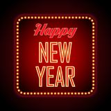 Happy New Year retro light frame. Vector illustration stock illustration