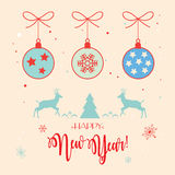Happy New Year 2018. Retro Merry Christmas and Happy New Year greeting cards background with Christmas balls, fir tree, reindeer, snow, snowflakes and lettering Stock Image