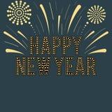 Happy new year retro style card. Design royalty free illustration