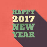 Happy New Year 2017 Retro Style text design. Vector greeting illustration with long shadow Royalty Free Stock Image