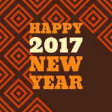 Happy New Year 2017 Retro Style text design. Vector greeting illustration with long shadow Royalty Free Stock Photography