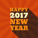 Happy New Year 2017 Retro Style text design. Vector greeting illustration with long shadow Stock Photography