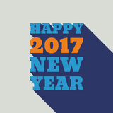 Happy New Year 2017 Retro Style text design. Vector greeting illustration with long shadow Stock Image