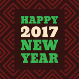 Happy New Year 2017 Retro Style text design. Vector greeting illustration with long shadow Royalty Free Stock Photos