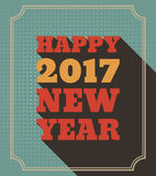 Happy New Year 2017 Retro Style text design. Vector greeting illustration with long shadow and frame Royalty Free Stock Images