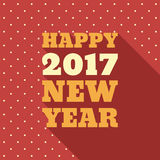Happy New Year 2017 Retro Style text design. Vector greeting illustration with long shadow and polka dots background Stock Photo
