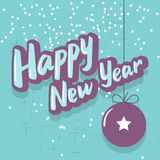 Happy New Year retro style turquoise card Royalty Free Stock Images