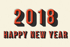 2018 Happy New Year retro typography poster. Royalty Free Stock Images
