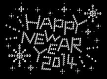 Happy New Year 2014, rhinestones Royalty Free Stock Image