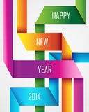 Happy New Year 2014 ribbon background. Happy new year 2014 holidays trendy colorful ribbon greeting card design. EPS10 vector file with transparency layers Stock Photography