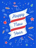 Happy new year. Ribbon banner in bright colorful style Stock Illustration