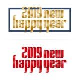 2019 happy new year ribbon lettering illustration.  stock illustration